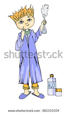 vector drawing chemist - stock vector