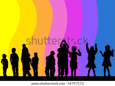 Vector drawing child in rainbow. Silhouette of people - stock vector