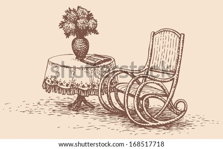 Vector drawing comfortable rocking chair, standing near the round table with an embroidered tablecloth, on which stands a vase of flowers and is a book - stock vector