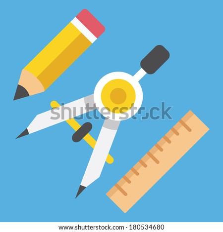 Vector Drawing Compass Pencil and Ruler Icon Web Design Concept - stock vector