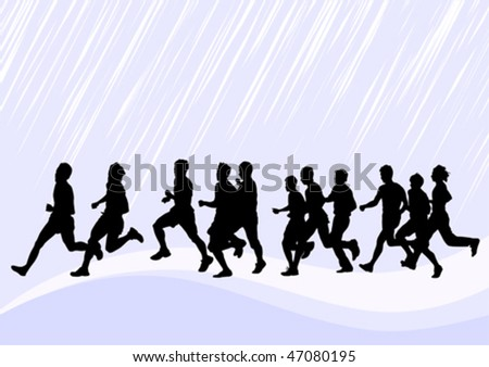 Vector drawing competitions in running. Silhouettes of boys running