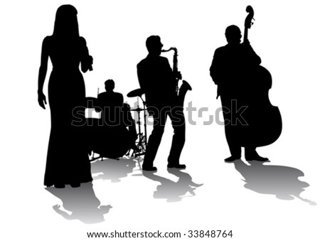 Vector drawing concert of jazz music. Silhouettes on a white background - stock vector