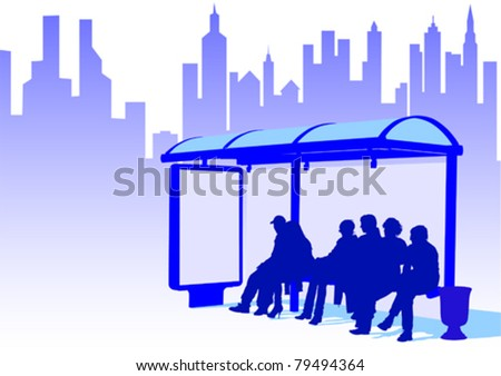 Vector drawing crowds at public transport stop - stock vector