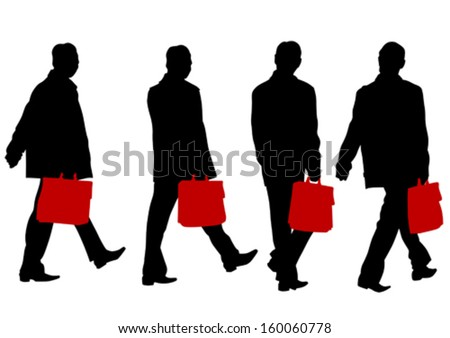Vector drawing crowds of a businessman with a briefcase - stock vector