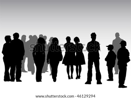 Vector drawing crowds on street - stock vector