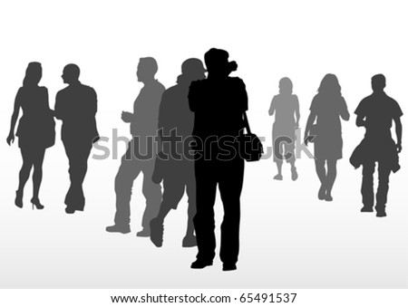 Vector drawing crowds people on street - stock vector