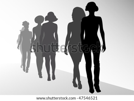 Vector drawing fashion models on scene. Silhouettes womens