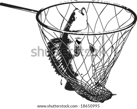 Vector drawing: fish in the fish-net with handle