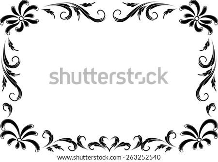 Flower Frame Black And White