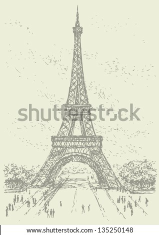 Vector drawing from a series of sketches of landmarks cities. The Eiffel Tower in Paris. France - stock vector