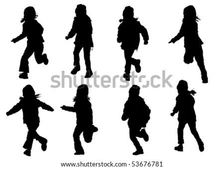 Vector drawing girl in motion. Silhouette on white background - stock vector