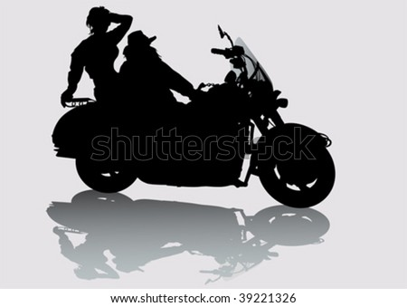 Vector drawing girls and men on a motorcycle - stock vector