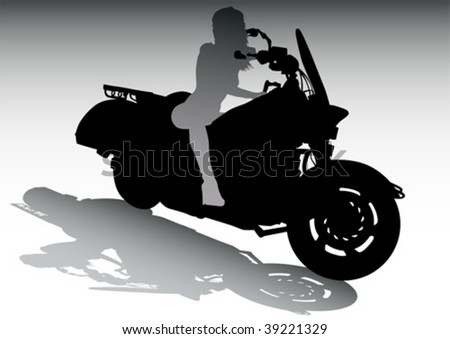 Vector drawing girls on motorcycle - stock vector