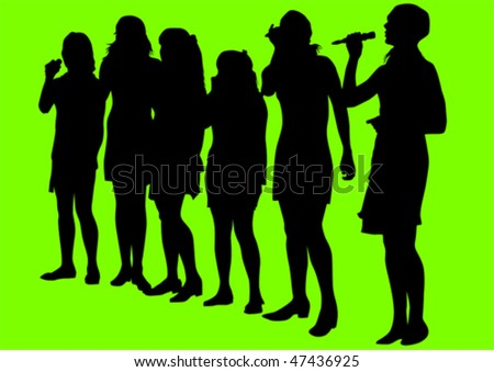 Vector drawing girls singing with a microphone. Silhouettes on green background - stock vector