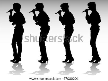 Vector drawing girls singing with a microphone. Silhouettes people - stock vector