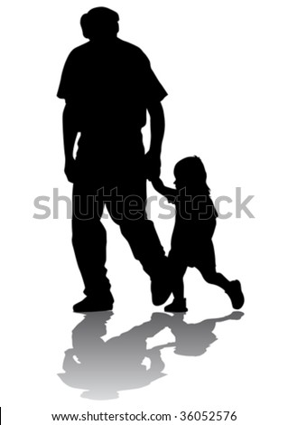 Vector drawing grandfather and granddaughter for a walk. Silhouette on white background - stock vector