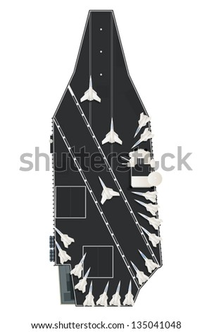 Vector drawing  illustration of a aircraft carrier with fighter planes on deck. - stock vector