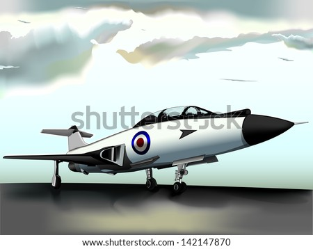 Vector drawing/Jet fighter/Vector drawing, easy to edit layers, easy to edit grouped objects, Gradient mesh used - stock vector