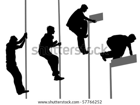 Vector drawing jumping and climbing men. Silhouettes athletes - stock vector