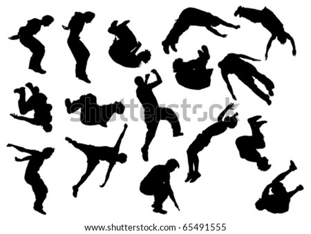 Vector drawing jumping and climbing men. Silhouettes athletes
