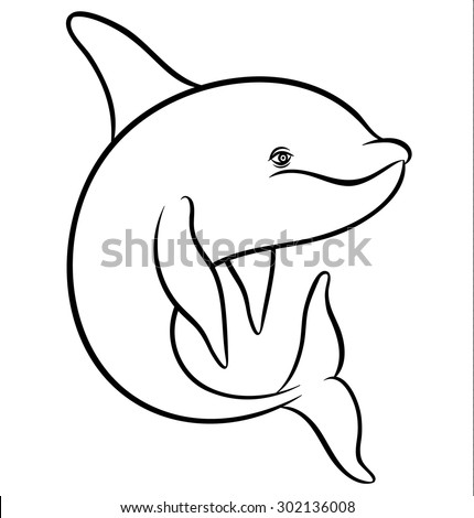 Vector drawing - line art dolphin or orca - stock vector
