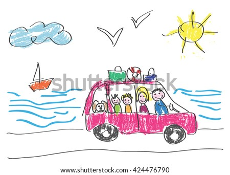 vector drawing made by a child happy family that goes on vacation to the sea