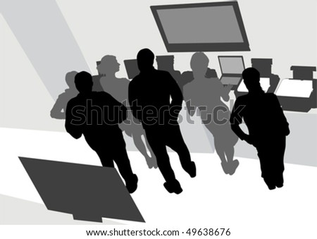 Vector drawing man and women from office. Images workplace - stock vector