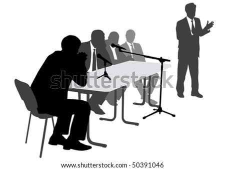 Vector drawing man  from office. Images meeting on workplace - stock vector