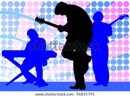Vector drawing mans with guitar and keyboards - stock vector