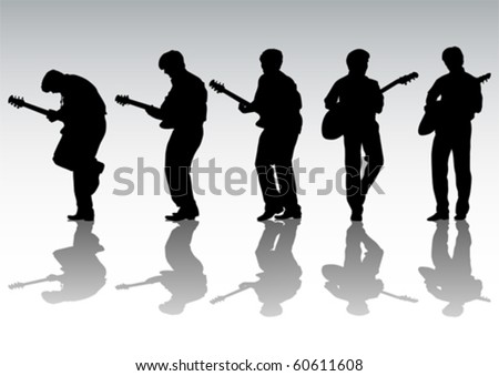 Vector drawing mans with guitar on white background