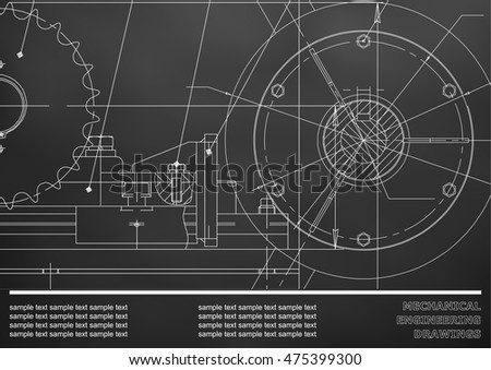 Vector drawing. Mechanical drawings on a black background. Engineering illustration. Corporate Identity