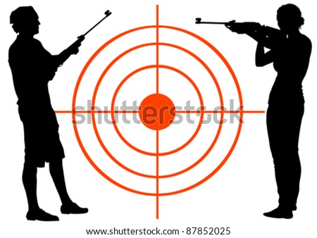 Vector drawing men and women with guns - stock vector