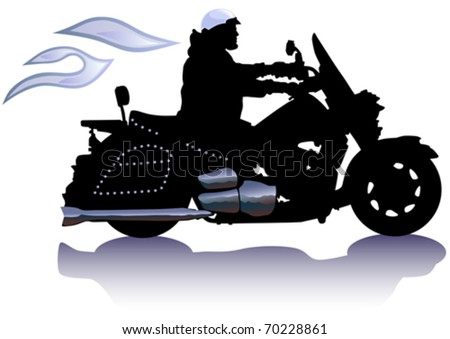 Vector drawing men to big motorcycle. Silhouette on white background - stock vector