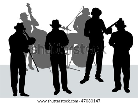 Vector drawing music jazz orchestra. Artists on stage - stock vector