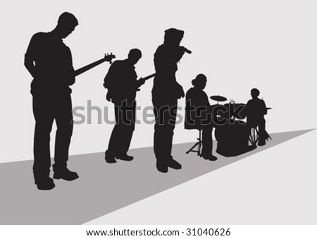 vector drawing music rock band concert stage - stock vector