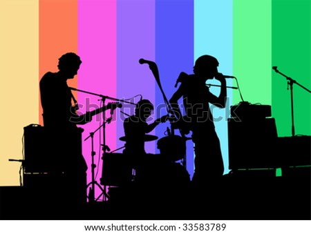 Vector drawing musical group in concert - stock vector