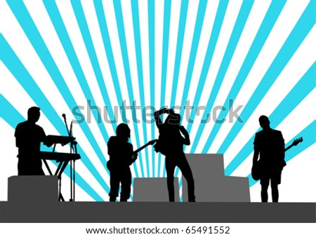 Vector drawing musical group in concert on stage - stock vector