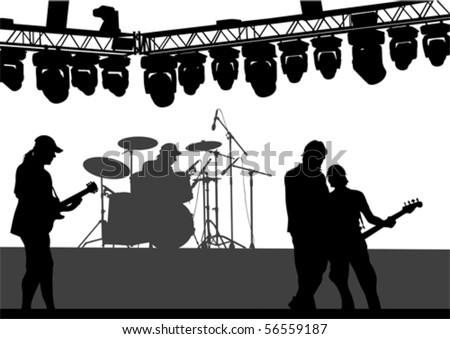 Vector drawing musical group on stage. Silhouettes on white background - stock vector