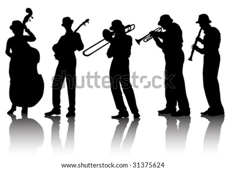 Vector drawing musical group. Silhouettes on a white background - stock vector
