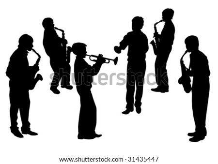 Vector drawing musical group. Silhouettes on a white background