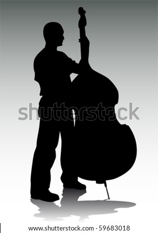 Vector drawing musician with bass . Silhouetted against rays of light - stock vector