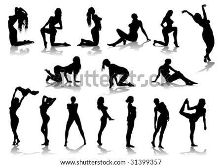 Vector drawing nude girls, silhouette against a white background.