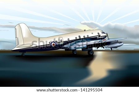 Vector drawing of a airplain on the runway/Airplane on the runway/ Easy to edit vector file, easy to edit groups and layers, meshes used, Sky background easy to use and very realistic - stock vector