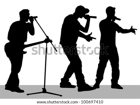 Vector drawing of a band on stage