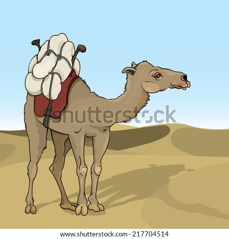 Vector drawing of a /Camel/ Easy to edit layers and groups, no meshes or effects used. Only gradient used on the background sky. - stock vector