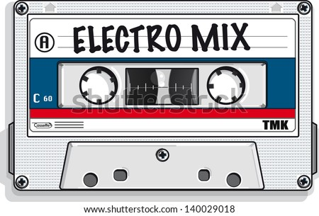 Vector drawing of a cassette tape/Mix tape/ Easy to edit layers, no gradients meshes or blends used - stock vector