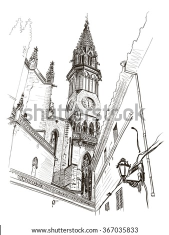 Vector drawing of a church in the center of Manacor, Mallorca, Spain