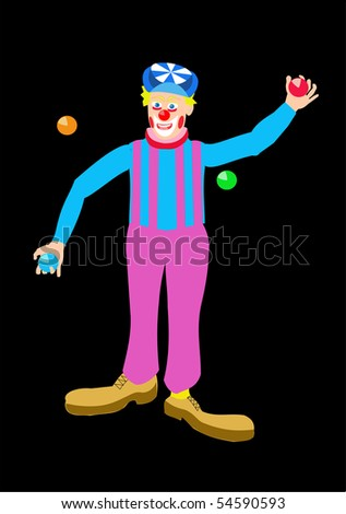 Vector drawing of a circus clown juggling colored balls, in magenta and blue, on black. - stock vector