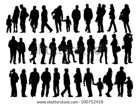 Vector drawing of a collection of silhouettes of men and women