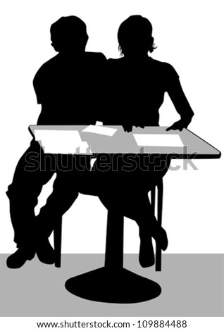Vector drawing of a couple at a table in the office